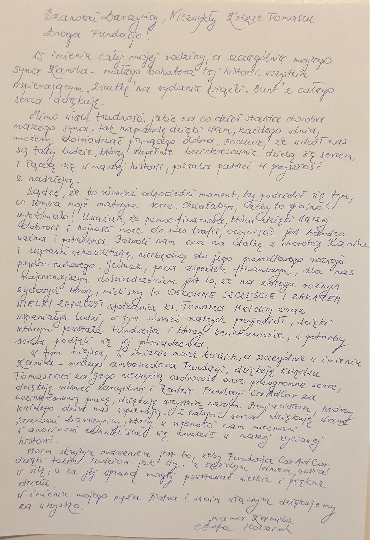 List do Fundacji
